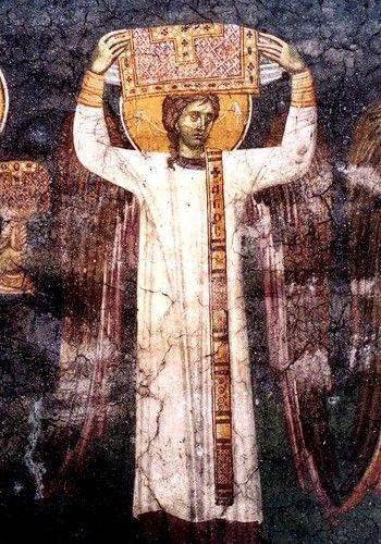 Небесная Литургия. Фреска монастыря Грачаница, Косово, Сербия. Около 1320 года. Фрагмент.