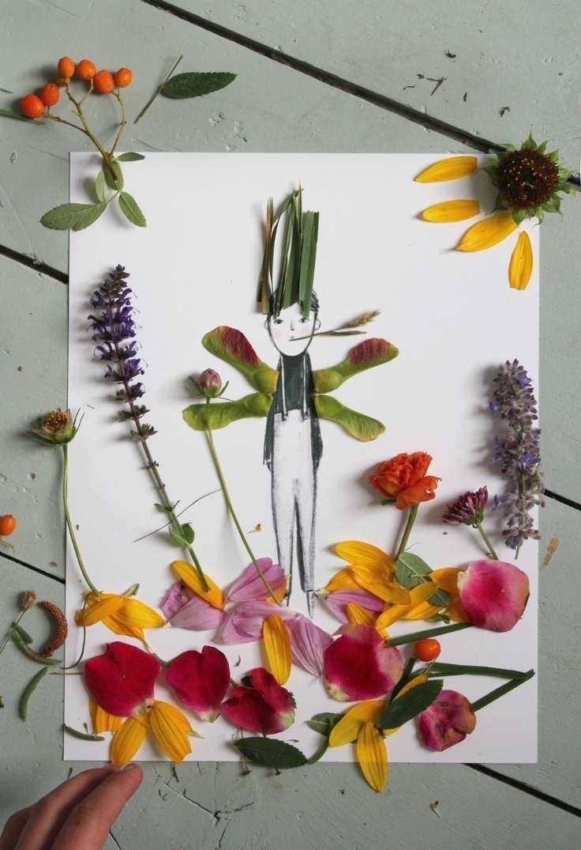 Decorar dibujos con naturaleza
