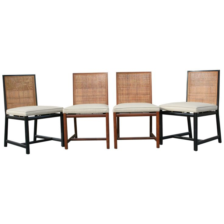 Set Of Four Cane Back Dining Chairs By Michael Taylor