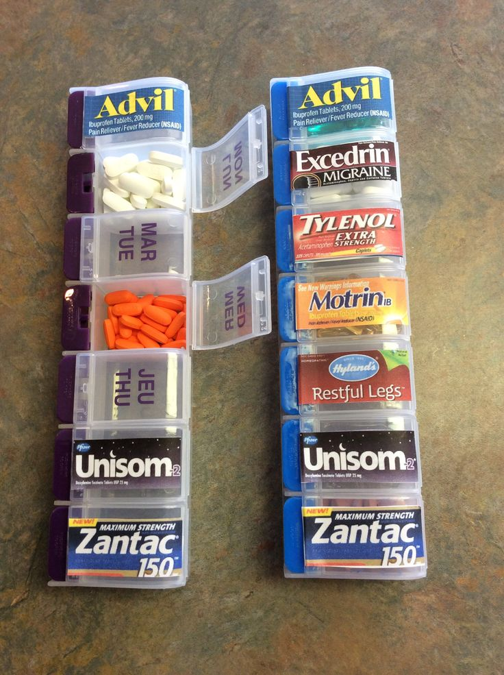 Great use for the 'days of the week' pill organizers. Labels took about 10 minutes to make. Great for keeping in the car, at even at home.