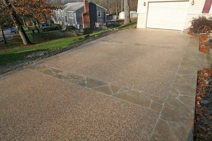 Exposed aggregate sand concrete driveways new england for New concrete driveway