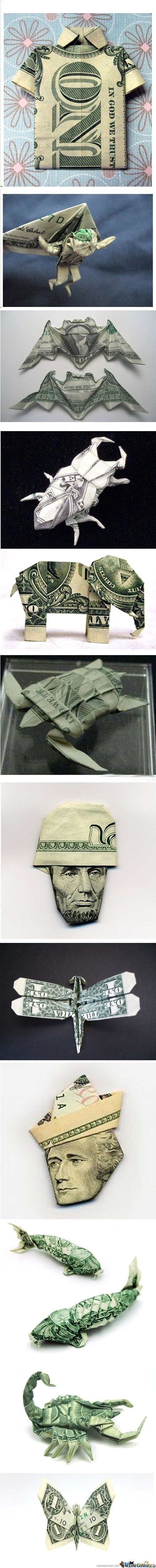 How to fold money.
