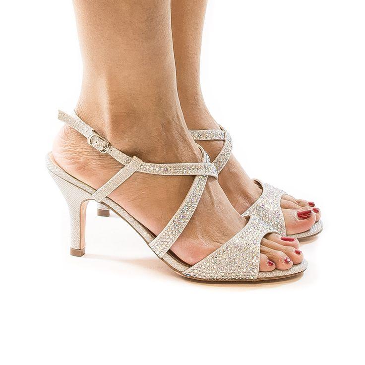 Nono8 Silver Shimmering by Blossom, Rhinestone & Glitter Open Toe Criss Cross Sling Back Kitten Heels