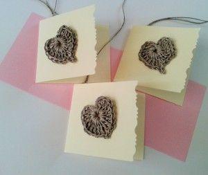 bileciki do prezentów serca szydełkowe