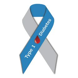 Type 1 diabetes awareness ribbon:  blue and grey with drop of blood