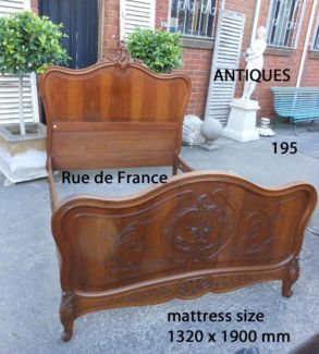 ANTIQUE FRENCH CARVED WALNUT DOUBLE BED-- LOUIS XVI STYLE