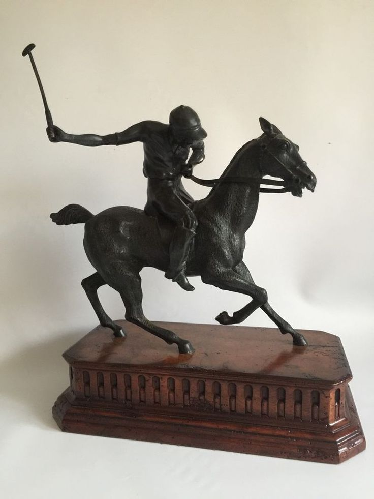 Bronze Sculpture Of A Polo Player On A Decorative Plinth