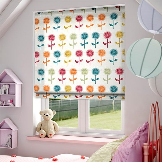 Scandi Blooms Rainbow Roman Blind