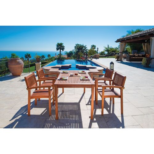 5-Piece Eucalyptus Patio Dining Set - Tan 							 							 							- Online Only #TurnSummerOn