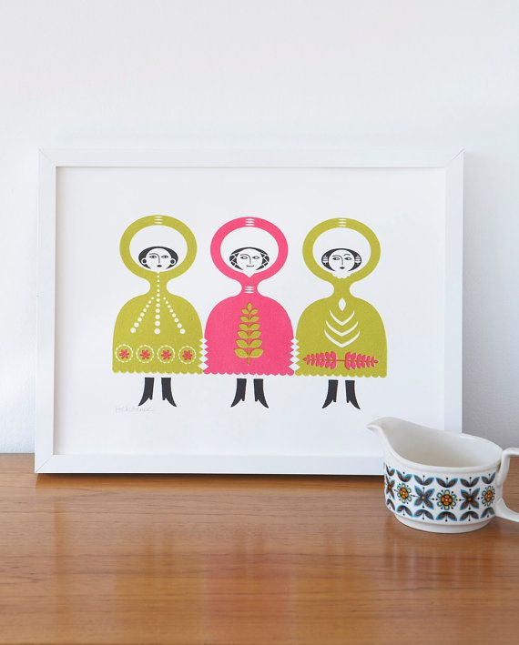 folk dance screen print