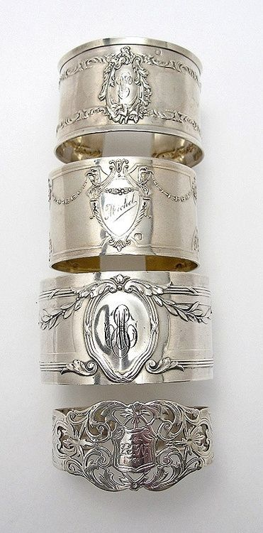 Silver Monogram Cuffs from vintage napkin rings | Silver & Gold | Monogrammed | Vintage | Tablescapes | Dinnerware | China