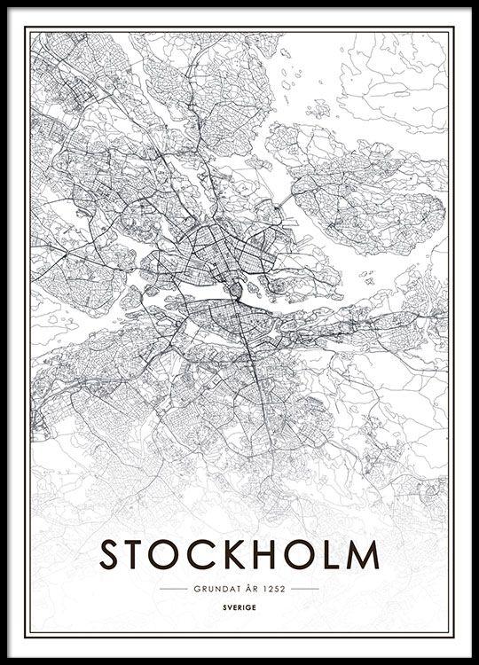 Black and white Stockholm print.