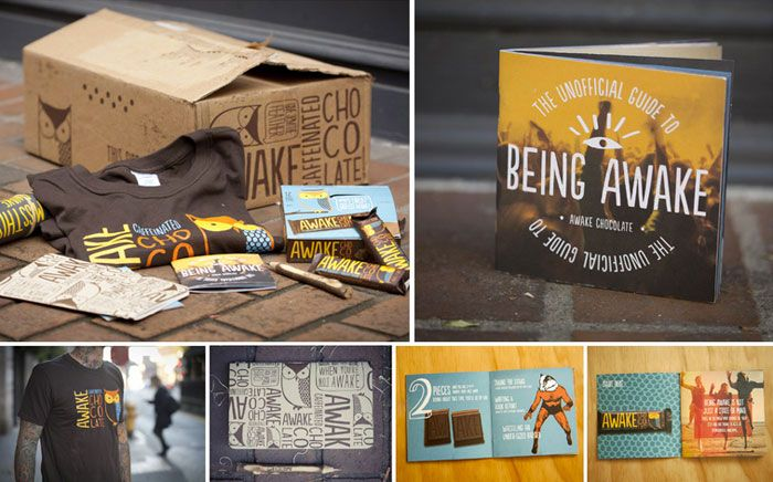 pretty cool campaign designed around the product Awake Chocolate - The Dieline