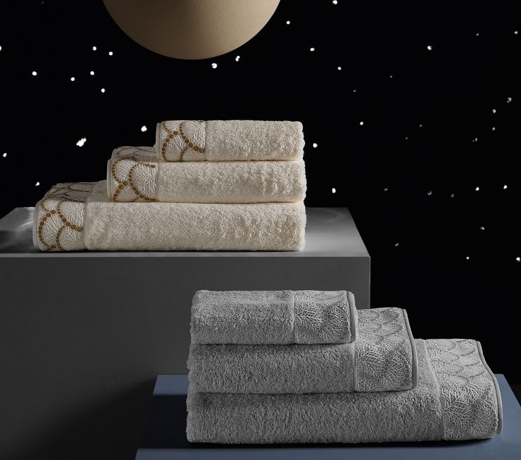 MISTLETOE BATH LINENS - A collection of luxuriously soft bath sheet, guest towel and hand linen elegantly detailed with a lace  ap on pure cotton terry.