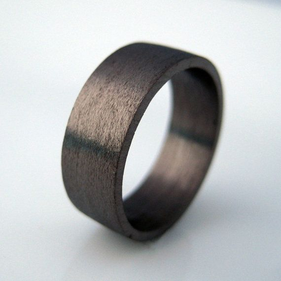 7mm wide wedding band black gold ring personalize and engrave wedding anniversary flat tube ring black wedding ring - Black Gold Wedding Ring