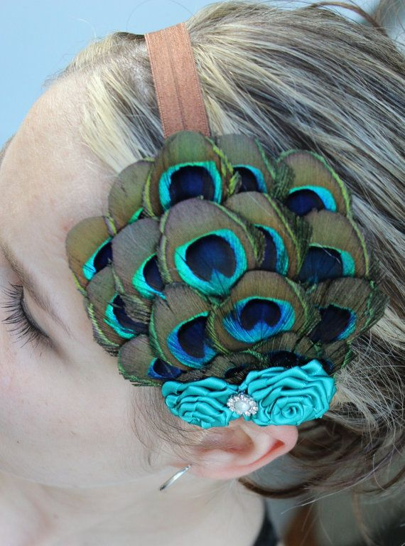 "LIMITED EDITION-Vintage Inspired Peacock feather fascinator headband for baby, children, women, bridal, wedding, etc ""Emilia"""