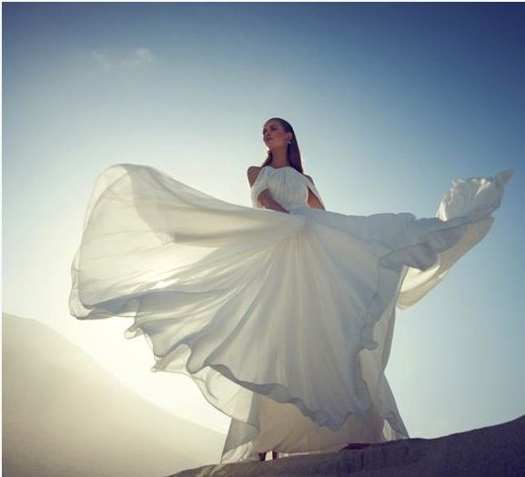 Bride in sunset