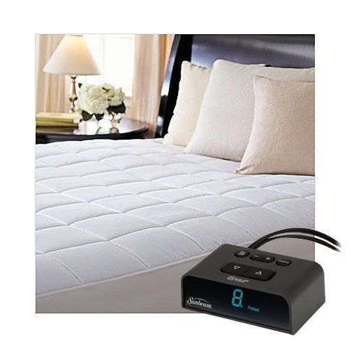Sunbeam MSU4BQS-D000-43A66 ComfortTec Quilted Heated Electric Mattress Pad, Queen