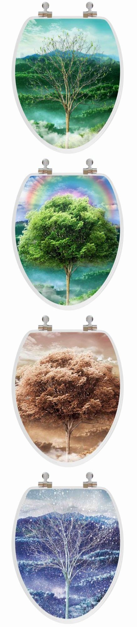 Toilet Seats 37637: Elongated Toilet Seat + Lid Cover Wood Trees 3D Changing Seasons Unique Decor -> BUY IT NOW ONLY: $69.99 on eBay!