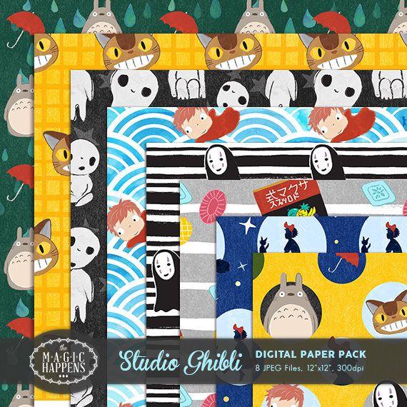 Totoro Digital Paper Studio Ghibli Pattern Totoro Birthday