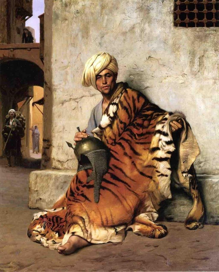 "Jean-Léon Gérôme (1824-1904) - Pelt Merchant, Cairo. Oil on Canvas. Circa 1869. 61.5cm x 50cm (24.2"" x 19.7"")."