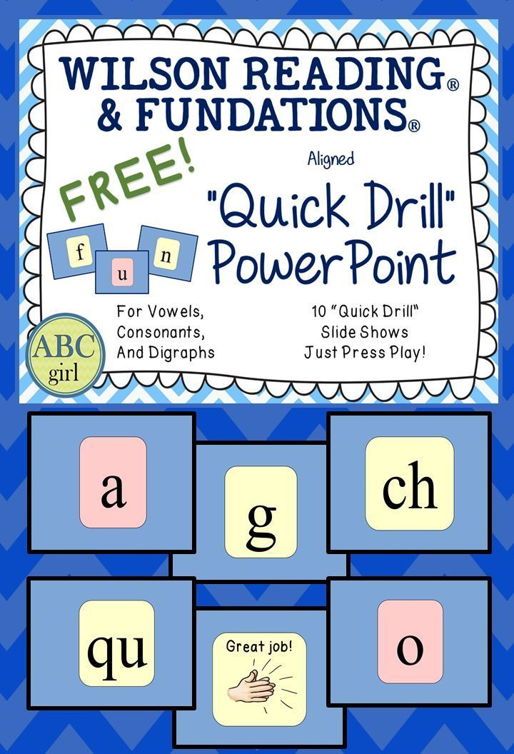 "FREE Wilson Reading System® and Fundations® Aligned ""Quick Drill"" PowerPoint."