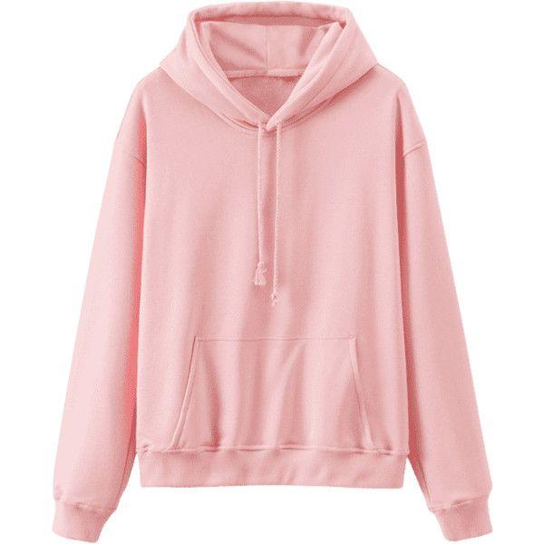 Front Pocket Drop Shoulder Long Hoodie - Pink L