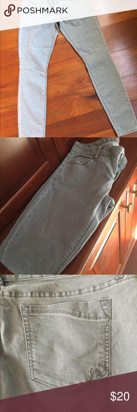 Express Zelda Gray Jean Leggings Ultra low rise slim fit jean leggings, gray. Express Jeans Skinny