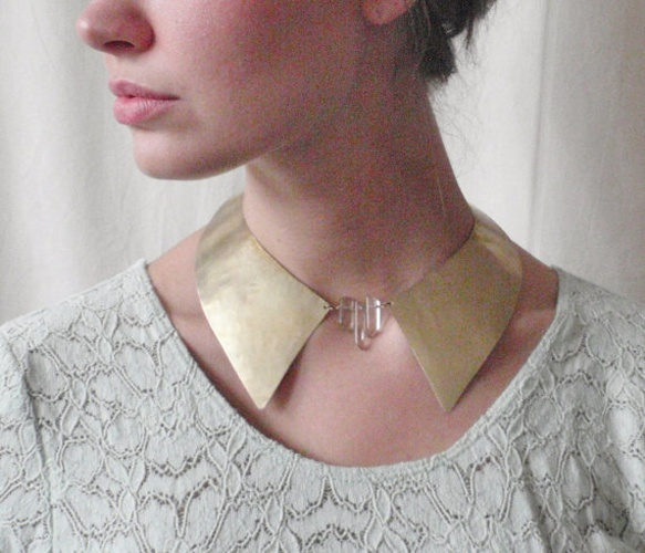 Brass Oxford Collar: Brass Oxfords, Brass Crystals, Contemporary Jewelry, Oxfords Collars, Peter Pan Collars, Collars Collars, Necklaces Collars, Collars Necklaces, Crystals Oxfords