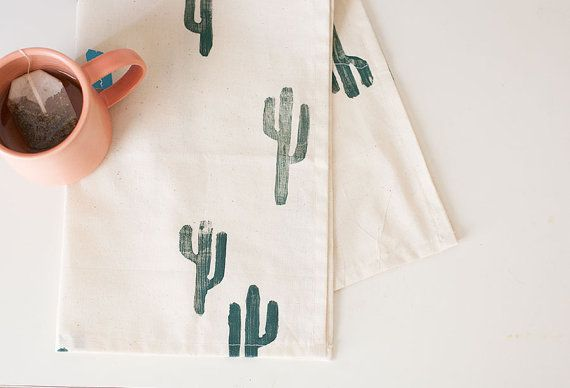 Block printed cactus tea towel - unbleached cotton - confetti riot