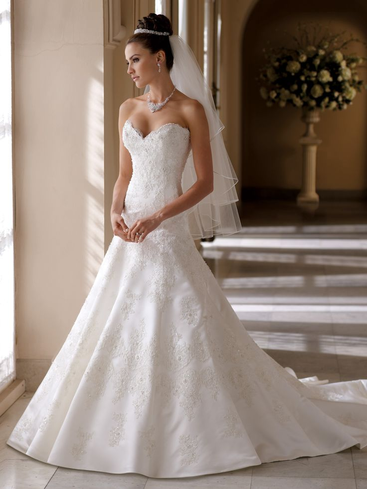 Strapless Lace A-Line Bridal Gown Helen David Tutera Mon Cheri- I love this dress!