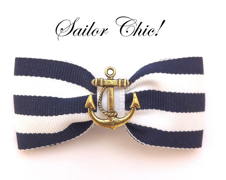 Navy Blue & White stripe hair bow on clip with Vintage Gold Anchor Rockabilly Pin Up girl. £4.00, via Etsy.