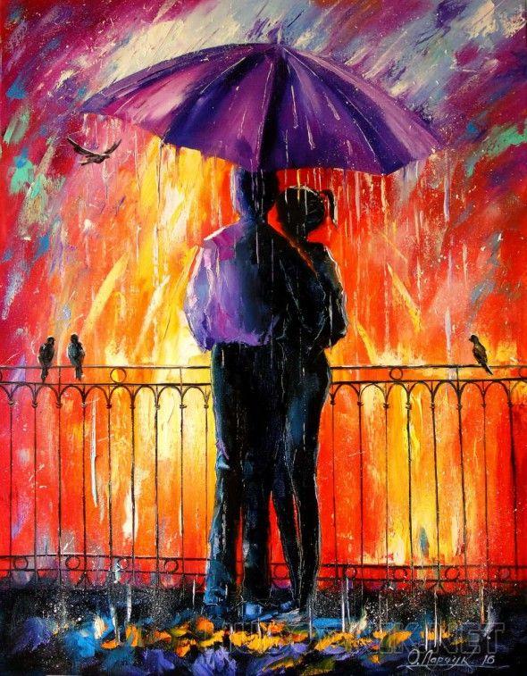 Влюбленные под зонтом  Влюбленные под дождем,картина маслом на холсте,романтика,пейзаж,природа,дождь,любовь,силуэты
