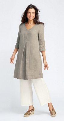 Gidget's flax apparel, linen clothing and all cotton clothing: Woodstock Dress with Sleeves, Neutral Flax 2014, neu14-WoodstockDressWSleeves