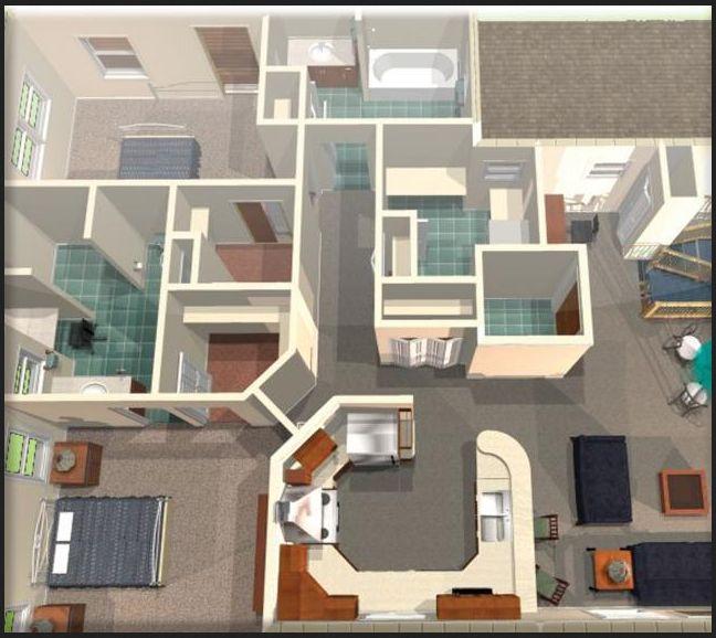Denah Rumah Minimalis 1 Lantai dan 2 Lantai 3D 2