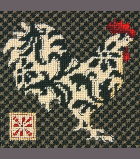 """Inspiration....Black & White Rooster Mini Needlepoint Kit-5""""X5"""" Stitched In Thread at Joann.com"""