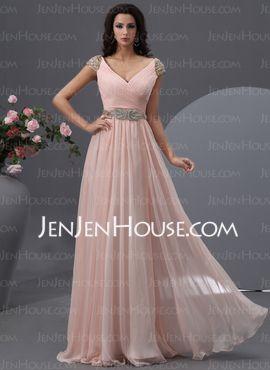 Corte A/Princesa Escote en V Vestido gasa Vestido de baile de promoción con Volantes Cuentas (018022748)