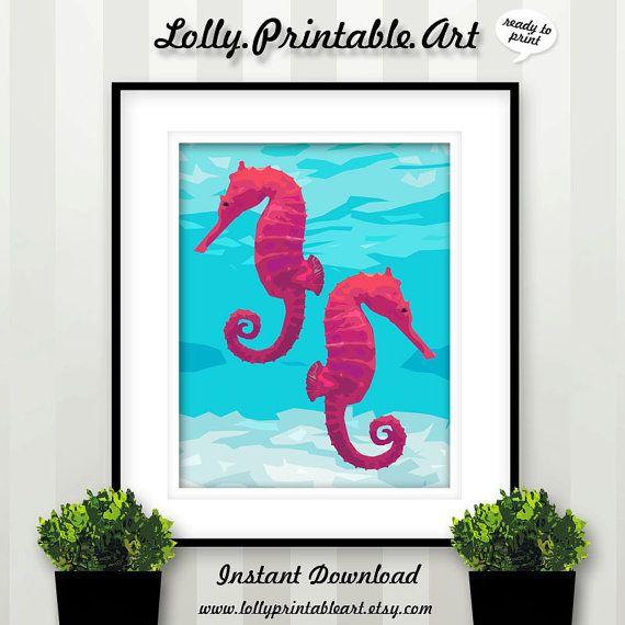 Unique Printable Art (Seahorse Blue Ocean) by LollyPrintableArt