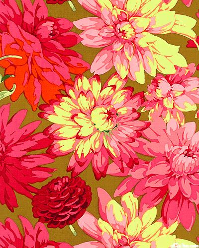 Fruits & Florals - Dahlia - Walnut. Wow, no winter will get you down with this bright fabric made into a quilt or even a simple pillow case