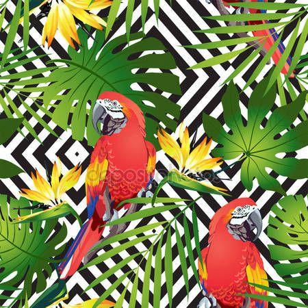 İndir - Tropikal kuşlar.  Renkli papağan ve egzotik çiçekler.  Vektör - Stok # 135846922 gösterimi