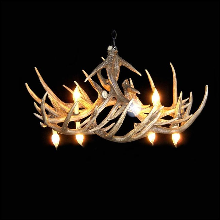 鹿角シャンデリア ペンダントライト 鹿角照明 リビング/店舗照明 樹脂製 6灯 茶褐色 LED対応
