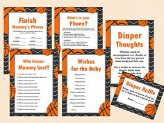 Basketball Baby Shower Games Printables Game by MagicalPrintable