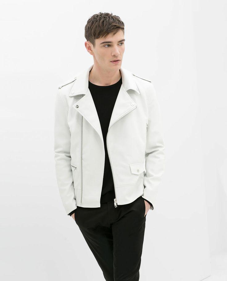 White leather jacket mens zara