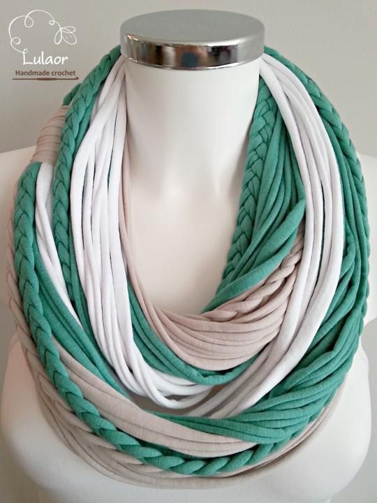 Handmade t-shirt infinity scarf. Made of high quality stone, green and white cotton fabrics.  The scarf is very soft and warming. Can be worn long or folded. For cleaning, wash by hand or on a gentle program in a washing machine and dry naturaly.  Size: approx. 27.1 long Please feel free to contact me for any question.  Visit me on facebook: https://www.facebook.com/lulaor