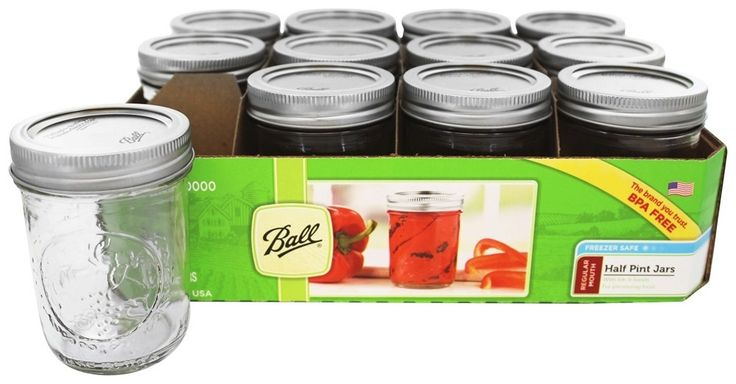 Ball - Regular Mouth 8 oz. Half Pint Mason Jars Freezer Safe - 12 Count
