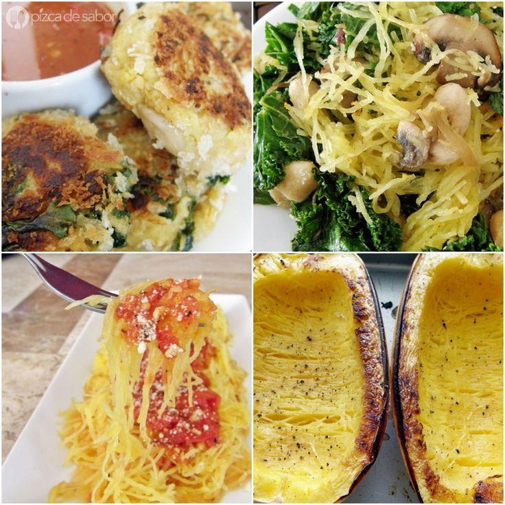 Puedes usar la calabaza espagueti como reemplazo como pasta (una versión más saludable), en tortitas con espinaca, con berza y alubias, con salsa marinara o salsa de tomate.