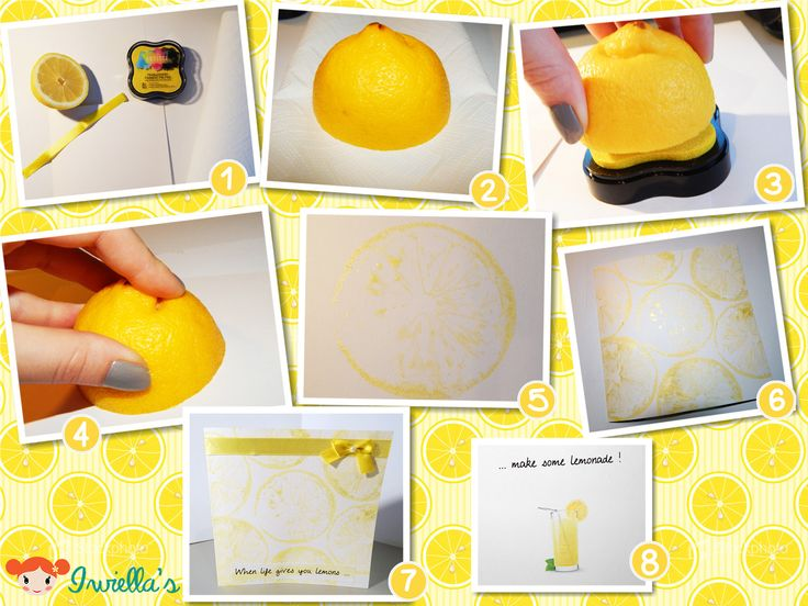 Using a lemon as a stamp.