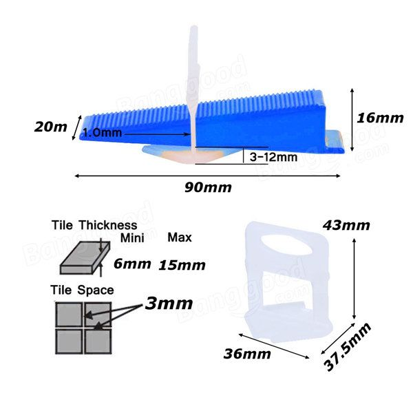 Tile Flat Leveling System Wall Floor Spacers Strap Device Tool 100Pcs Clips / 100Pcs Wedge Sale sold out - Banggood Mobile