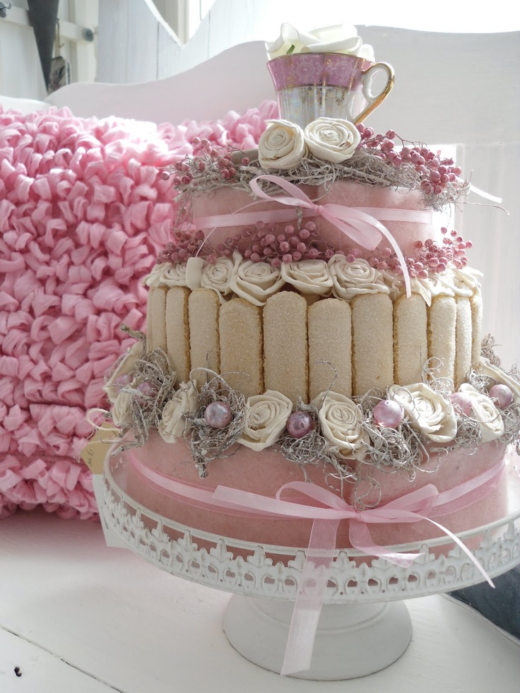 Fake Cake ,with lady fingers ,pearls & roses.