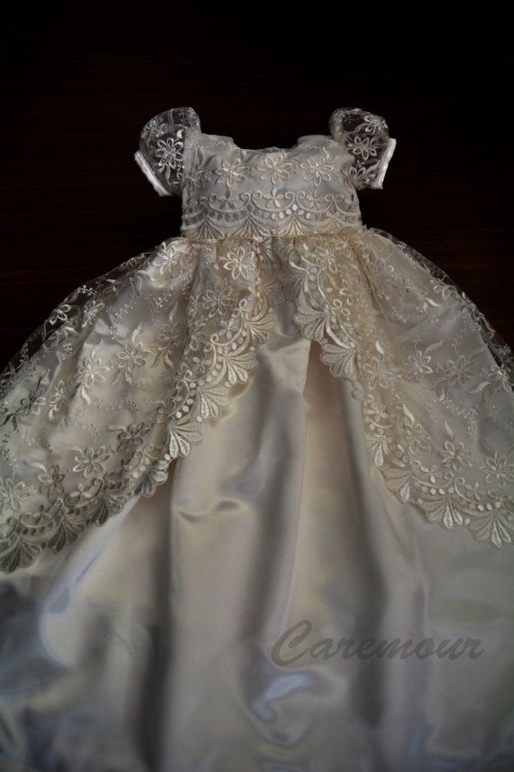 Off White Lace Christening Gown Baptism Dedication 0 3